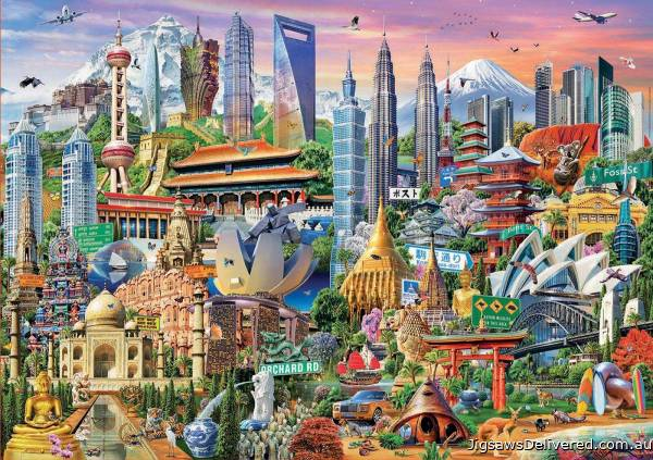 Asian Landmarks (EDU17979), a 1500 piece jigsaw puzzle by Educa.