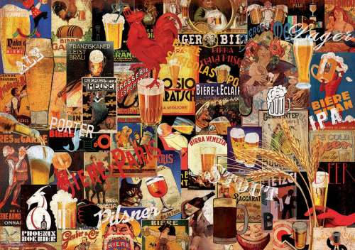 Vintage Beer Collage (EDU17970), a 1000 piece jigsaw puzzle by Educa. Click to view larger image.