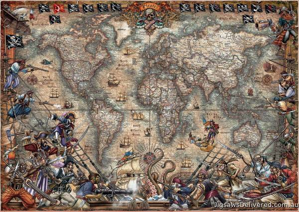 Pirates World Map (EDU18008), a 2000 piece jigsaw puzzle by Educa.