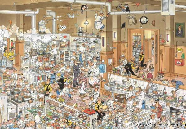 The Kitchen (Large Pieces) (JUM19085), a 500 piece jigsaw puzzle by Jumbo.