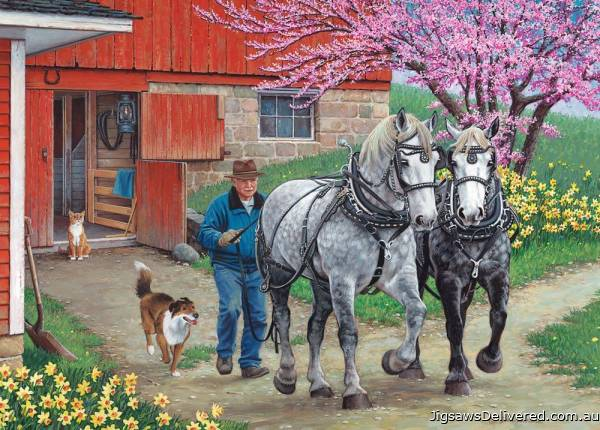 Back in the Harness (Large Pieces) (HOL771486), a 500 piece jigsaw puzzle by Holdson.