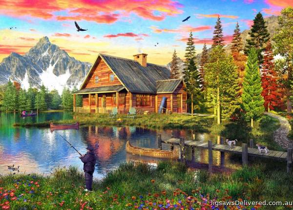 The Fishing Cabin (Sunsets) (HOL771455), a 1000 piece jigsaw puzzle by Holdson.