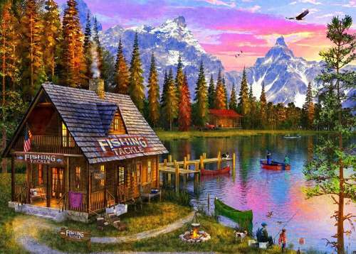 The Fishing Hut (Sunsets) (HOL771431), a 1000 piece jigsaw puzzle by Holdson. Click to view larger image.