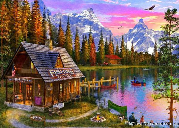 The Fishing Hut (Sunsets) (HOL771431), a 1000 piece jigsaw puzzle by Holdson.