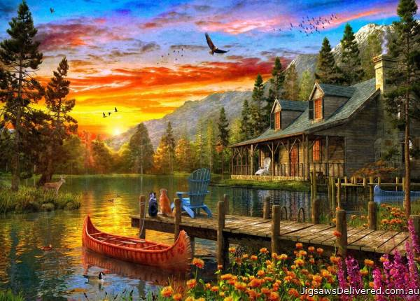 A Cottage at Sunset (Sunsets) (HOL771424), a 1000 piece jigsaw puzzle by Holdson.