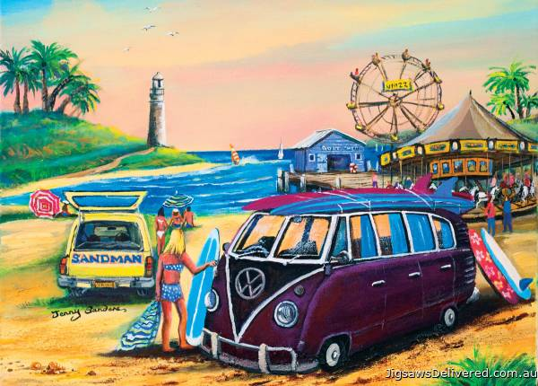 Purple Kombi at the Fair (BL02032), a 1000 piece jigsaw puzzle by Blue Opal.