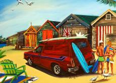 Panel Van at the Beach (BL02035), a 1000 piece Blue Opal jigsaw puzzle.