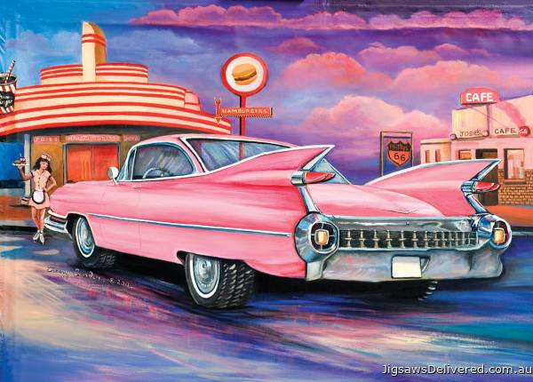 Pink Caddy at the Carhop Diner (BL02027), a 1000 piece jigsaw puzzle by Blue Opal.