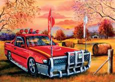Red Ute in the Bush. Click to view this product
