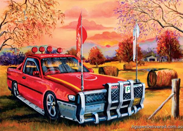 Red Ute in the Bush (BL02025), a 1000 piece jigsaw puzzle by Blue Opal.