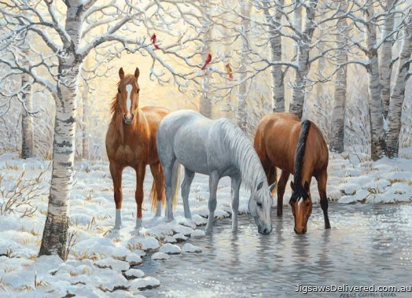Horses Winter Trio (COB80555), a 1000 piece jigsaw puzzle by Cobble Hill.