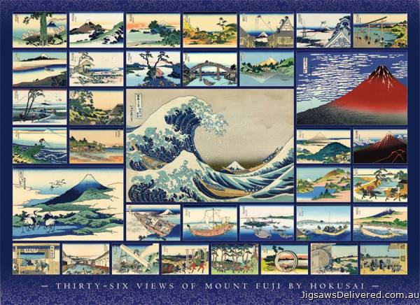 Thirty-Six Views of Mount Fuji (COB80235), a 1000 piece jigsaw puzzle by Cobble Hill.