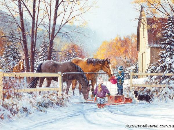 Horses in the First Snow (Large Pieces) (COB88018), a 275 piece jigsaw puzzle by Cobble Hill.