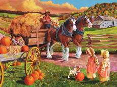 Hay Wagon (Large Pieces) (COB88010), a 275 piece Cobble Hill jigsaw puzzle.