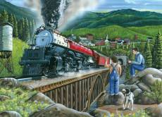 Steaming out of Town (Large Pieces) (COB88009), a 275 piece Cobble Hill jigsaw puzzle.