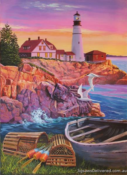 Lighthouse (Large Pieces) (COB88008), a 275 piece jigsaw puzzle by Cobble Hill.