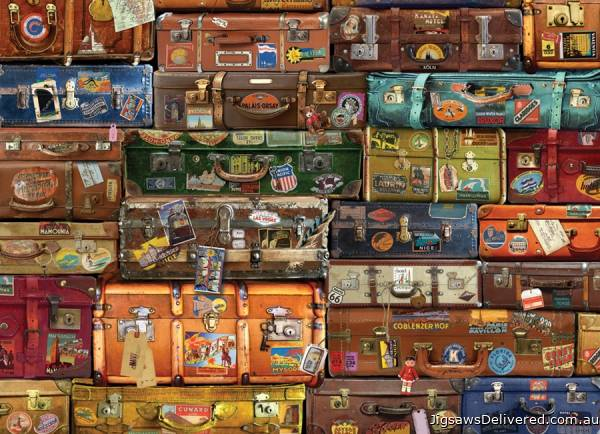 Vintage Luggage (COB80195), a 1000 piece jigsaw puzzle by Cobble Hill.