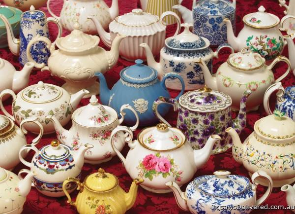 Tea Pots (COB80036), a 1000 piece jigsaw puzzle by Cobble Hill.