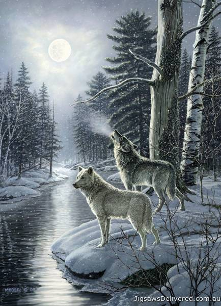 Wolves by Moonlight (COB80108), a 1000 piece jigsaw puzzle by Cobble Hill.