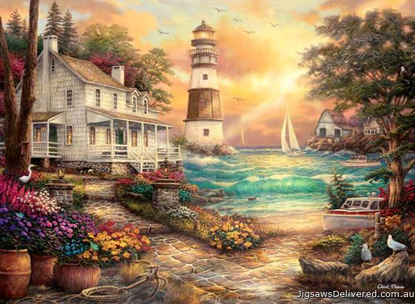 Cottage by the Sea (ANA1075), a 1000 piece jigsaw puzzle by Anatolian.