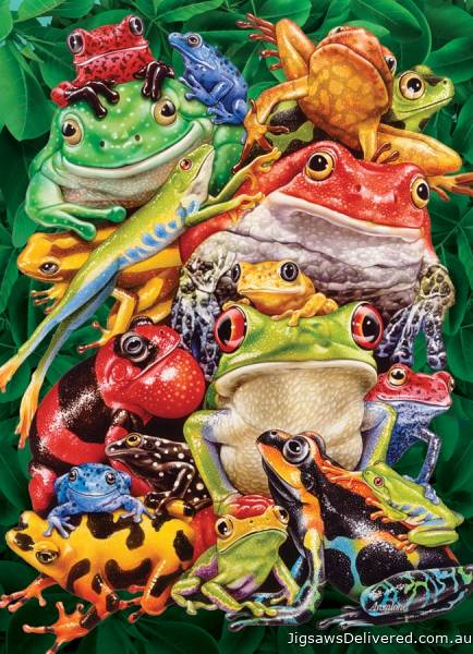 Frog Business (COB80218), a 1000 piece jigsaw puzzle by Cobble Hill.