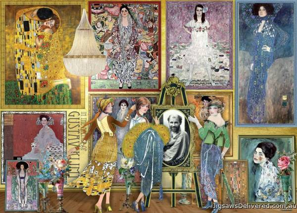 Gustav Klimt (Works of Art) (HOL771325), a 1000 piece jigsaw puzzle by Holdson.