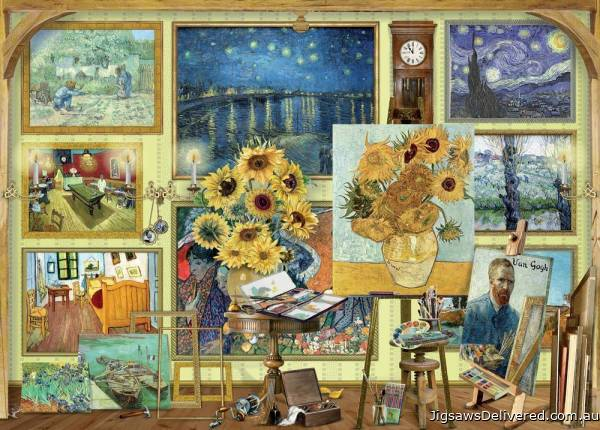 Van Gogh's Studio (Works of Art) (HOL771356), a 1000 piece jigsaw puzzle by Holdson.