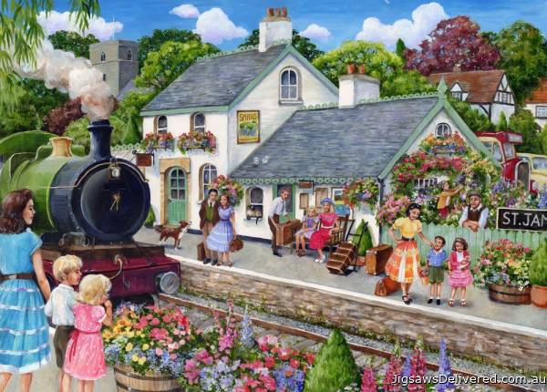 The Train Station (English Village) (HOL771868), a 500 piece jigsaw puzzle by Holdson.