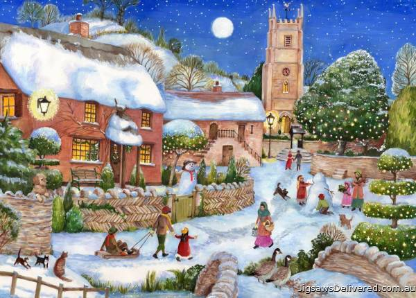 Starry Night (English Village) (HOL771851), a 500 piece jigsaw puzzle by Holdson.