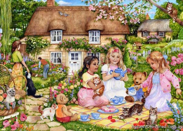 Picnic for Bears (English Village) (HOL771844), a 500 piece jigsaw puzzle by Holdson.