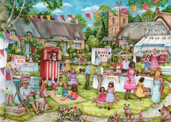 Summer Fete (English Village) (HOL771875), a 500 piece jigsaw puzzle by Holdson.