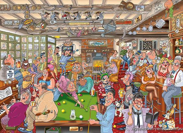 The Puzzlers Arms! (Destiny Wasgij 19) (HOL771509), a 1000 piece jigsaw puzzle by Holdson.