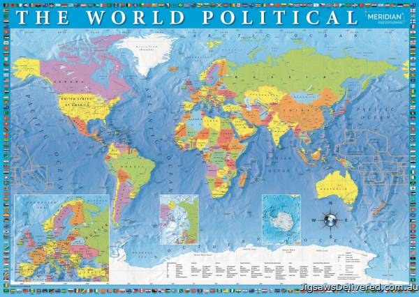 Political World Map (TRE27099), a 2000 piece jigsaw puzzle by Trefl.