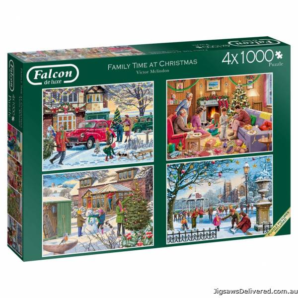 Family Time Christmas (4 x 1000pc) (JUM11269), a 1000 piece jigsaw puzzle by Jumbo.