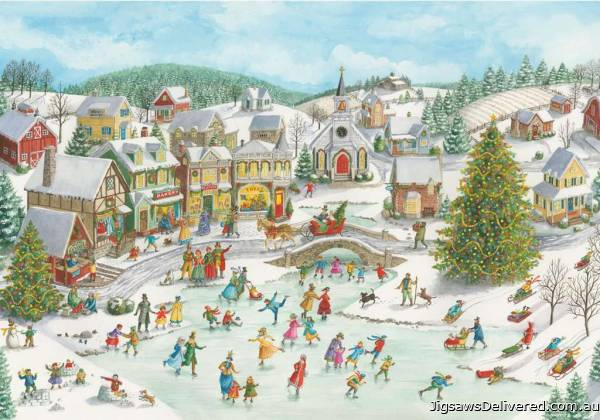 Playful Christmas Day (RB15290-2), a 1000 piece jigsaw puzzle by Ravensburger.