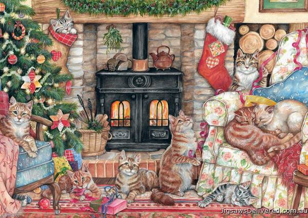 Christmas Cats (JUM11239), a 500 piece jigsaw puzzle by Jumbo.
