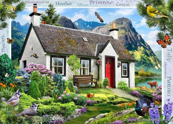 Lochside Cottage (Large Pieces) (HOL771738), a 500 piece jigsaw puzzle by Holdson.
