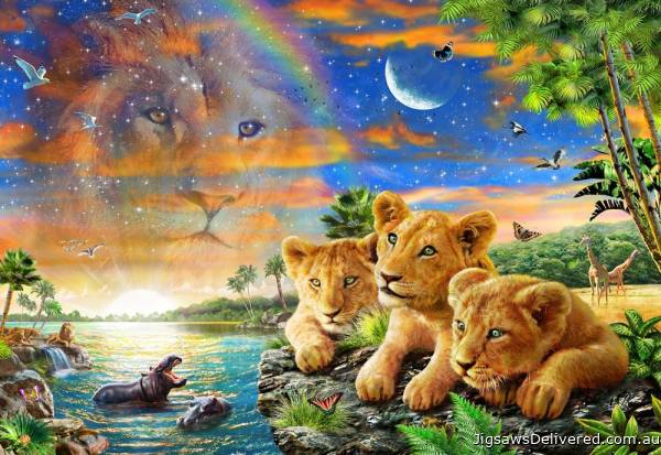 Lion Cubs (HOL771943), a 300 piece jigsaw puzzle by Holdson.