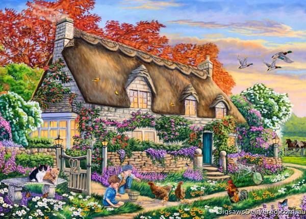 Feeding the Chickens (Moments and Memories) (HOL772001), a 1000 piece jigsaw puzzle by Holdson.