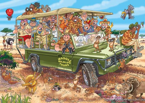 Safari Surprise! (Original Wasgij 31) (HOL771882), a 1000 piece jigsaw puzzle by Holdson.