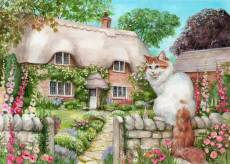 Master of All He Surveys (Cottage Cats, Large Pieces) (HOL771974), a 500 piece Holdson jigsaw puzzle.