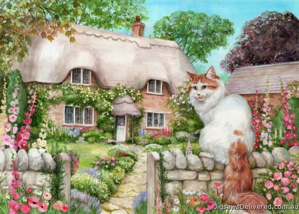 Master of All He Surveys (Cottage Cats, Large Pieces) (HOL771974), a 500 piece jigsaw puzzle by Holdson.