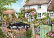 The Gate Keeper (Cottage Cats, Large Pieces) (HOL771981), a 500 piece jigsaw puzzle by HoldsonArtist Debbie Cook. Click to view this jigsaw puzzle.