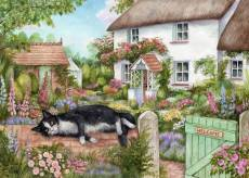 The Gate Keeper (Cottage Cats, Large Pieces) (HOL771981), a 500 piece Holdson jigsaw puzzle.