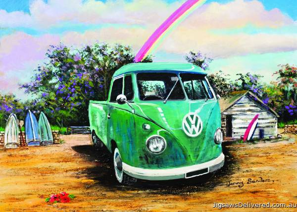 Green Kombi Ute (BL02041), a 1000 piece jigsaw puzzle by Blue Opal.