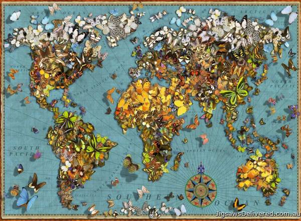 World of Butterflies (RB15043-4), a 500 piece jigsaw puzzle by Ravensburger.