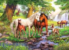 Horses by the stream. Click to view this product