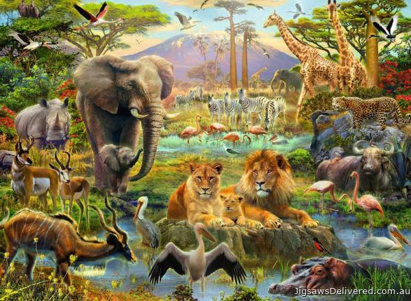 Animals of the Savanna (RB12891-4), a 200 piece jigsaw puzzle by Ravensburger.