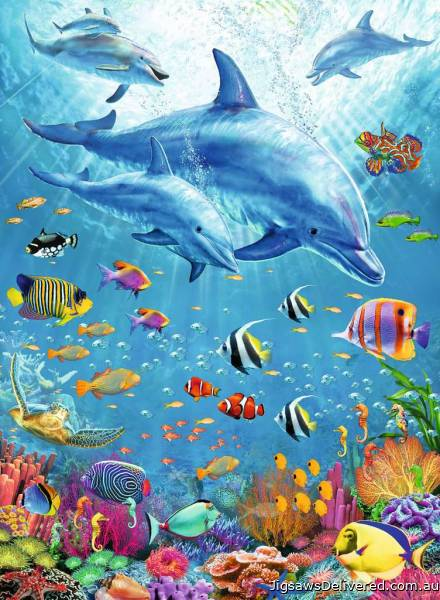 Pod of Dolphins (RB12889-1), a 100 piece jigsaw puzzle by Ravensburger.