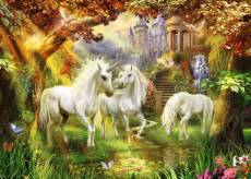 Unicorns in the Forest (RB15992-5), a 1000 piece Ravensburger jigsaw puzzle.